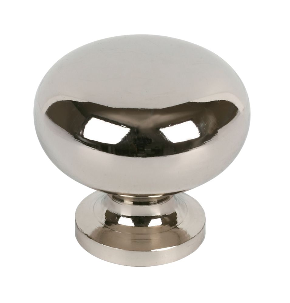 Sleek Round Knob Polished Chrome 30mm 2 Pack