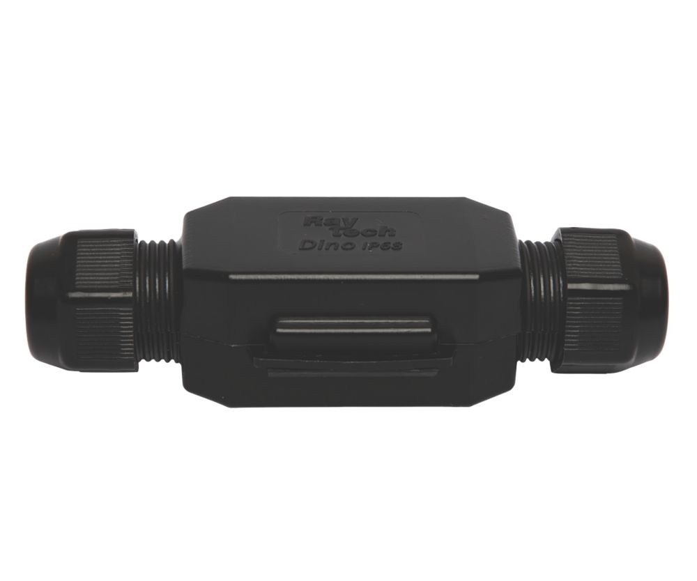 Raytech 2-Entry 4-Pole IP69K Gel-Filled Straight Cable Joint Black