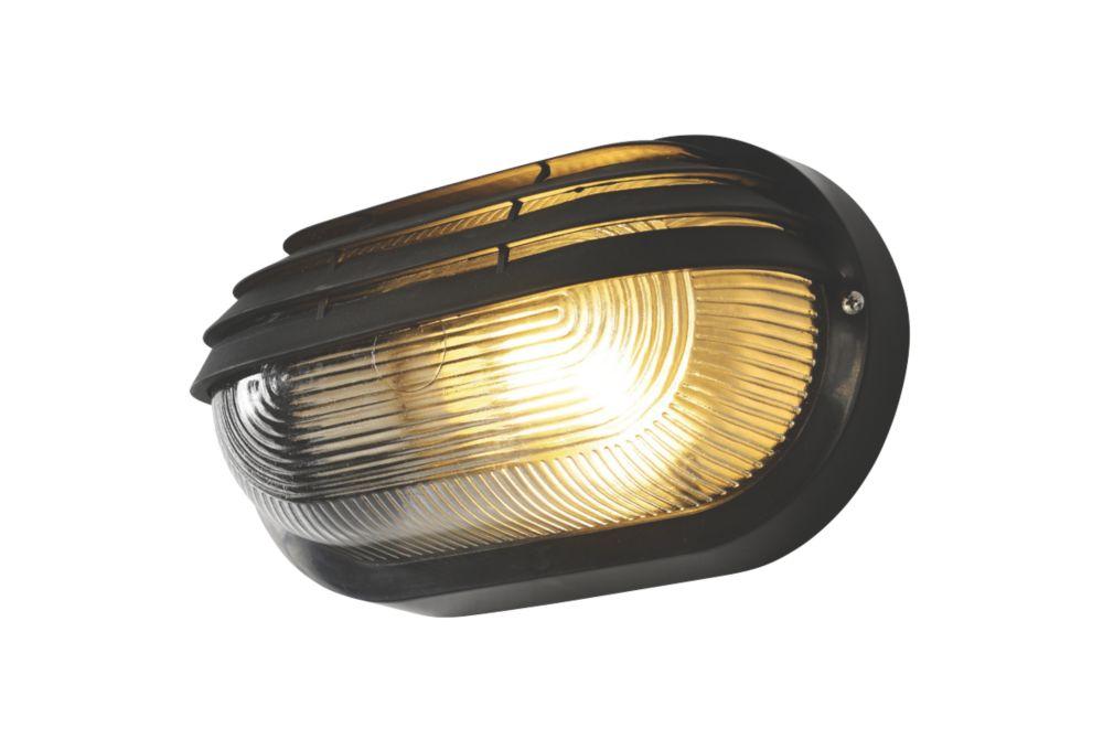 Zinc  Oval Bulkhead Black 240V