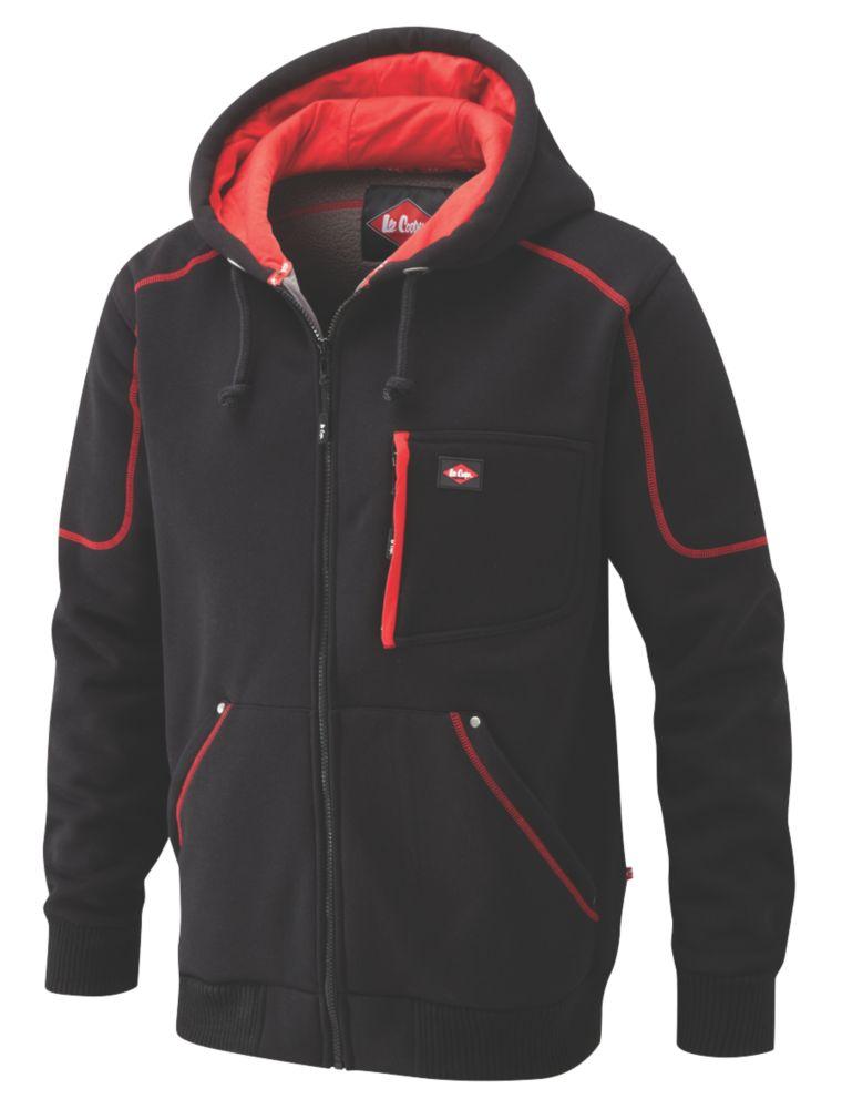 """Lee Cooper 105 Hooded Fleece Jacket Black/Red Large 42"""" Chest"""