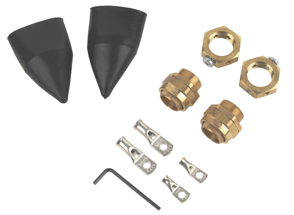 Internal Brass 25 Gland Kit with Earthing Nut  2 Pack