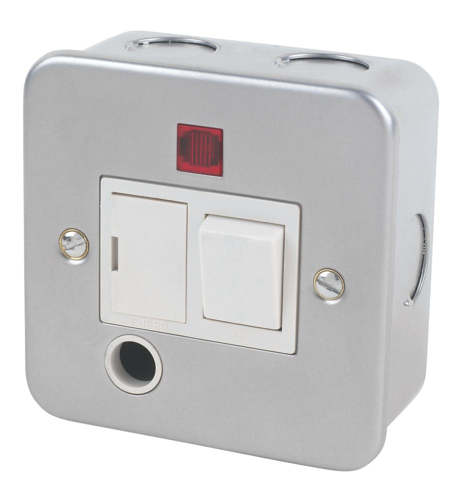 13A Switched Metal Clad Fused Spur & Flex Outlet with Neon with White Inserts