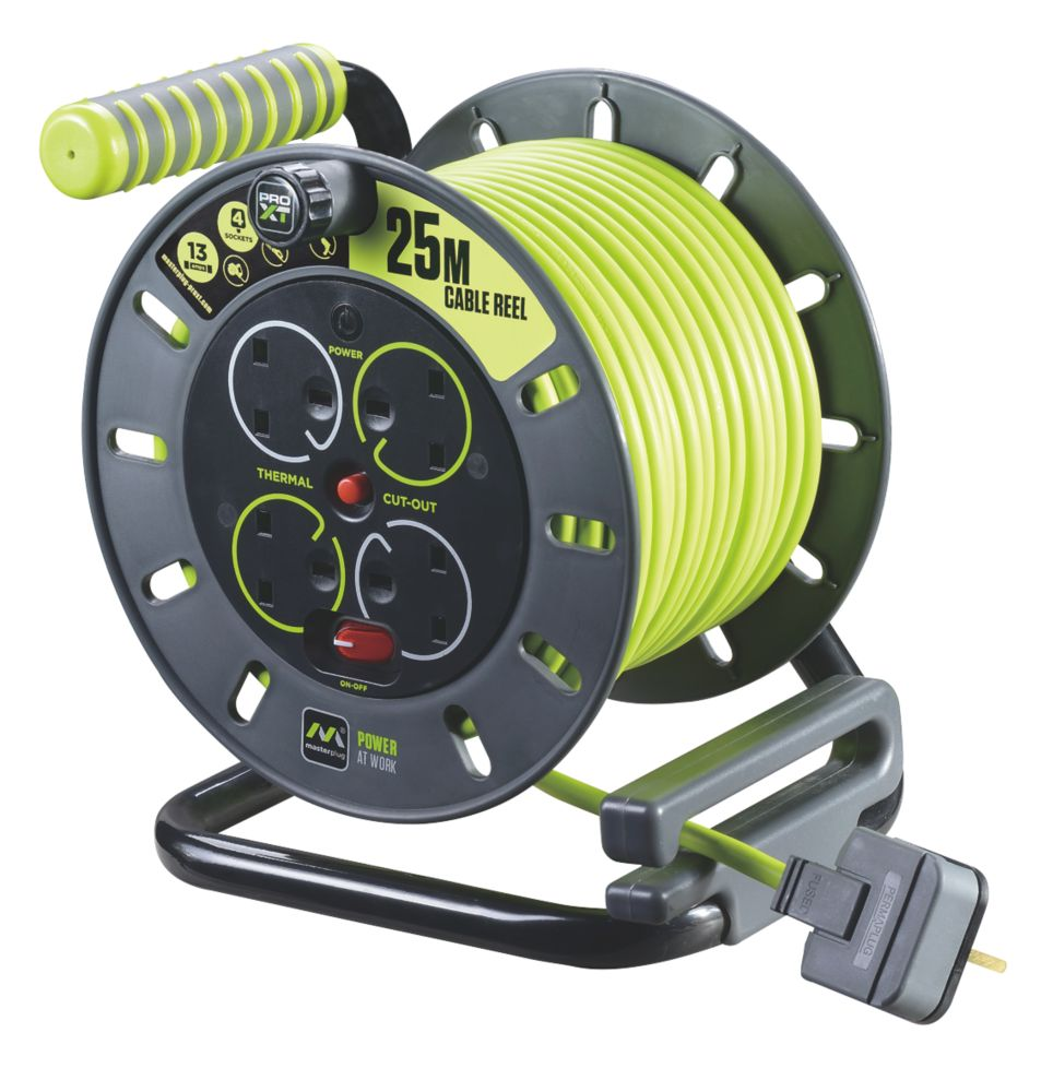 PRO XT OMU2513 13A 4-Gang 25m Cable Reel 240V