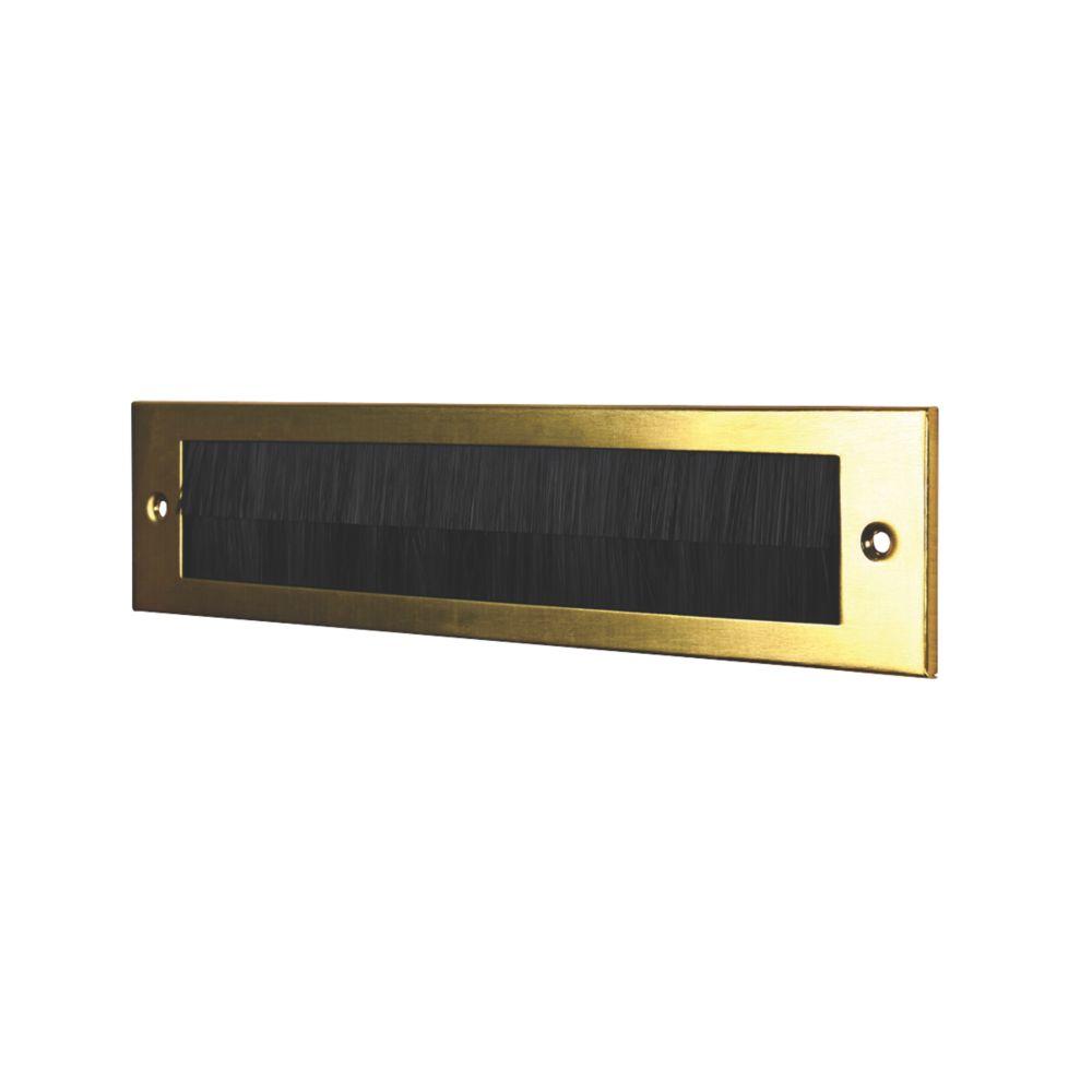 Stormguard Brush Letter Plate Gold 338 x 75mm