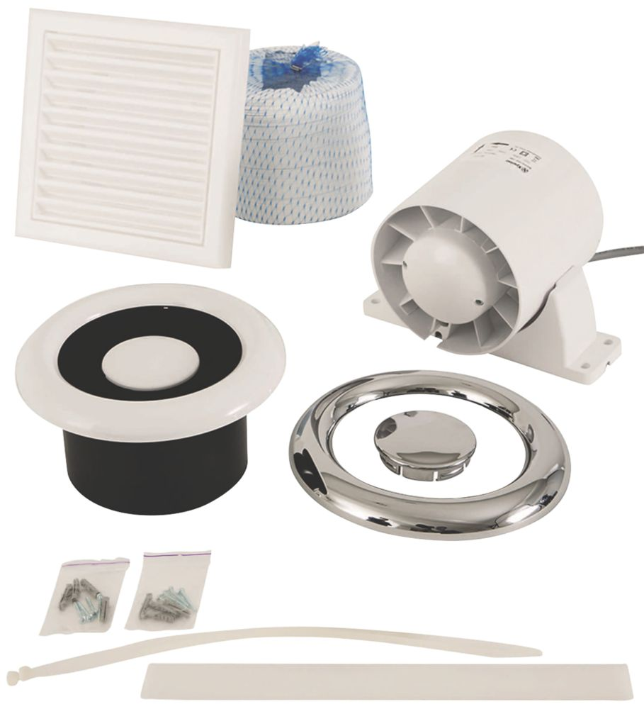 Xpelair In-Line Axial Shower Fan Kit White / Chrome