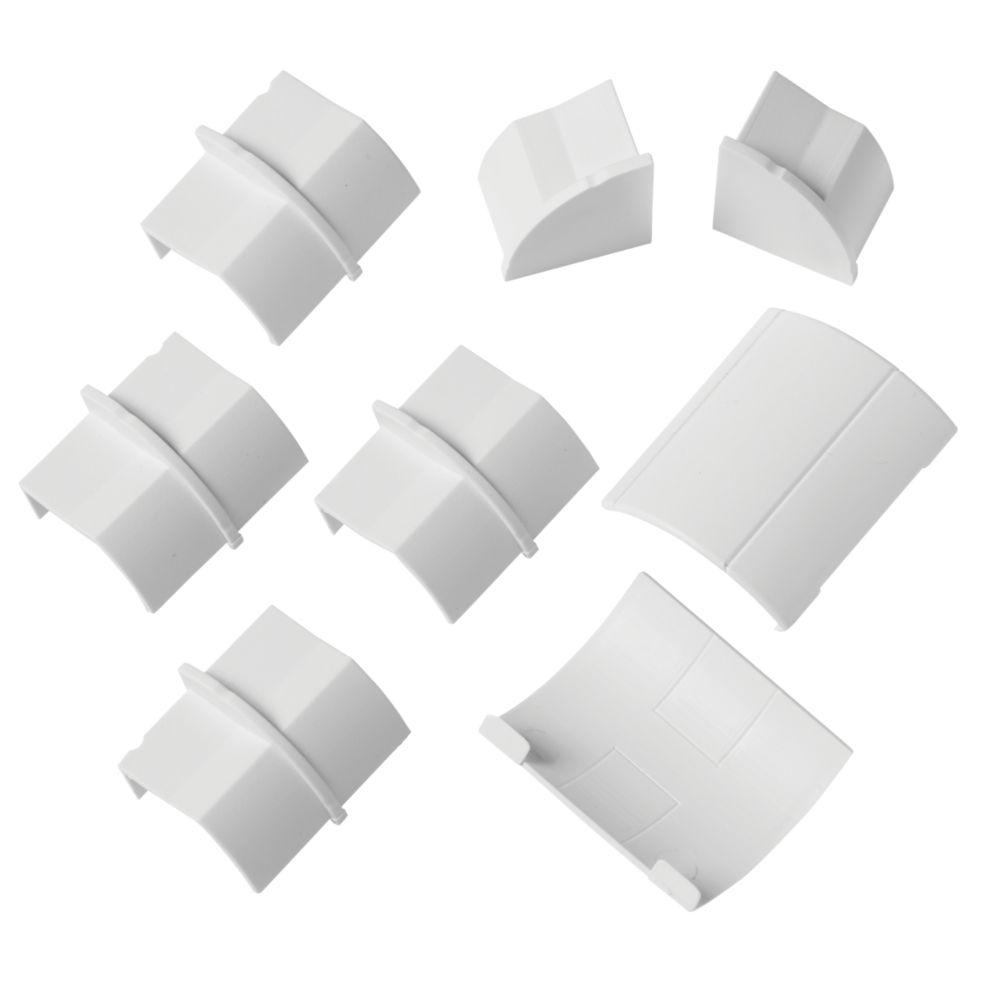 D-Line Plastic White Decorative Trunking Floor Trim Accessories Pack 8 Pcs