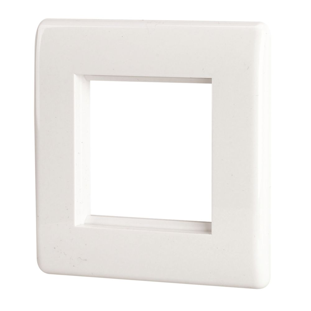 LAP 1-Gang Front Plate with Double Module Aperture White