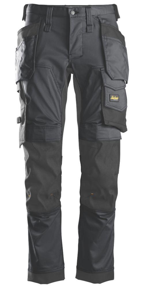 "Snickers AllroundWork Stretch Trousers Grey / Black 35"" W 32"" L"