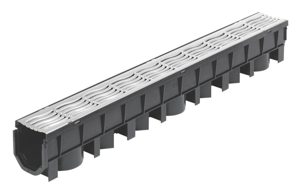 FloPlast FloDrain Channel Drain & Galvanised Grate Black / Silver 115mm x 1012mm