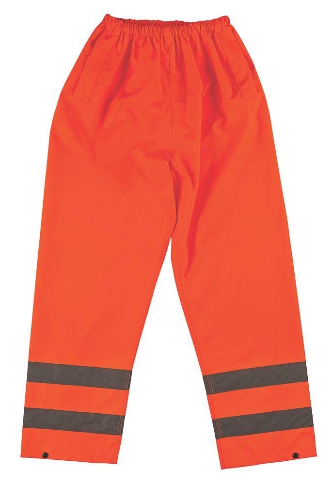 """Hi-Vis Waterproof Trousers Elasticated Waist Orange Medium 33-34"""" W 30"""" L"""