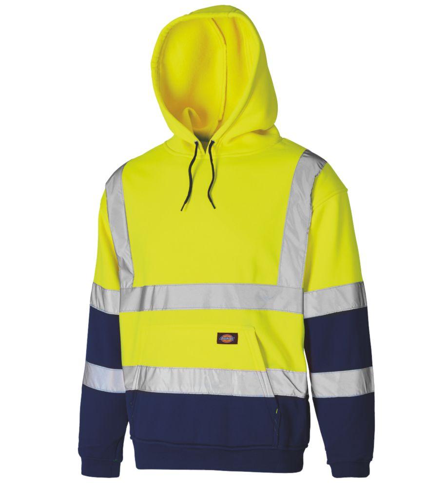 "Dickies SA22095 Hi-Vis 2-Tone Hoodie Yellow/Navy X Large 50"" Chest"