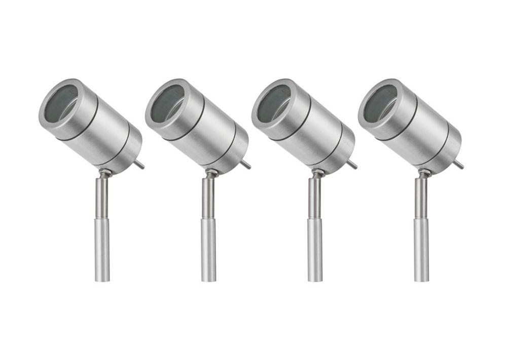 Vista Outdoor LED Spike Light Kit Brushed Silver 12W 4 Pack