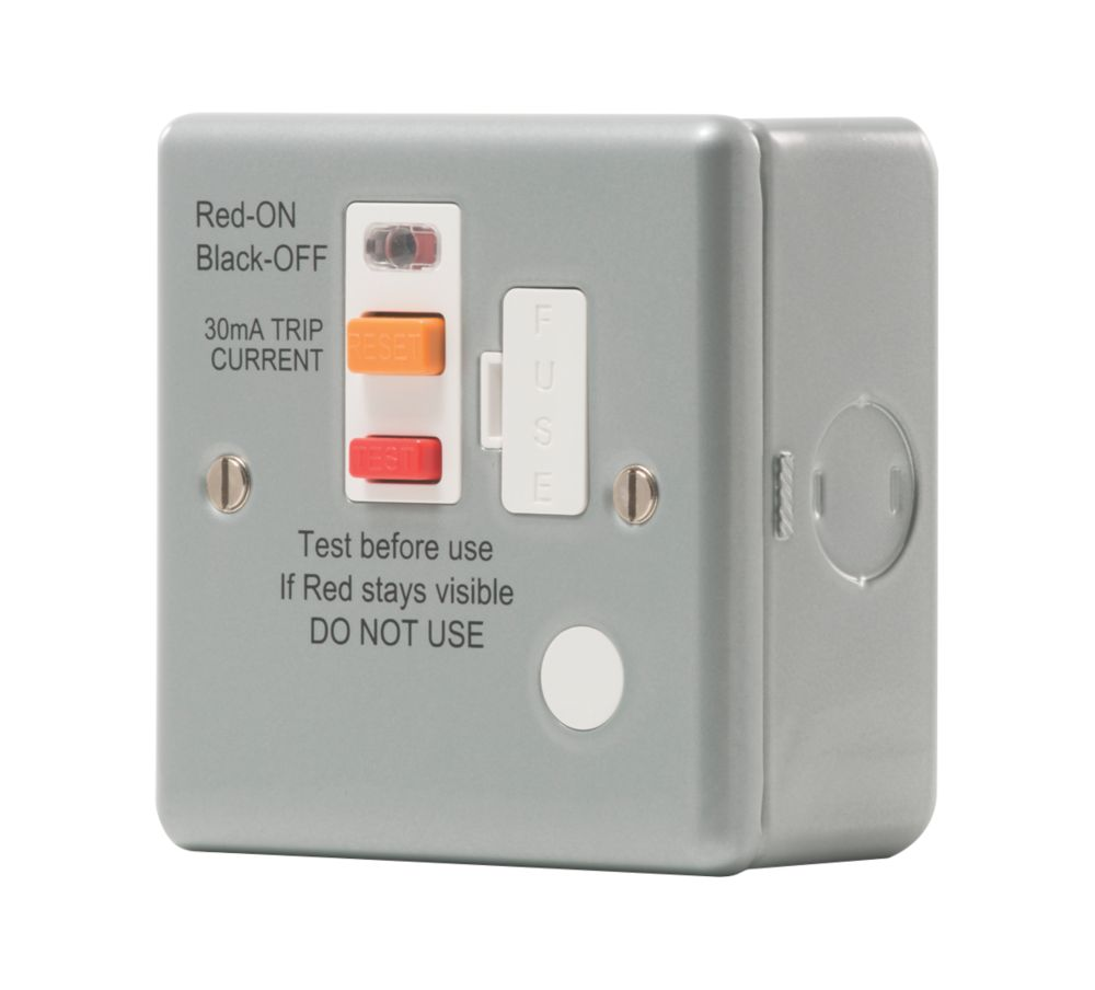 British General  13A Unswitched Metal Clad Passive Fused Spur & Flex Outlet with White Inserts
