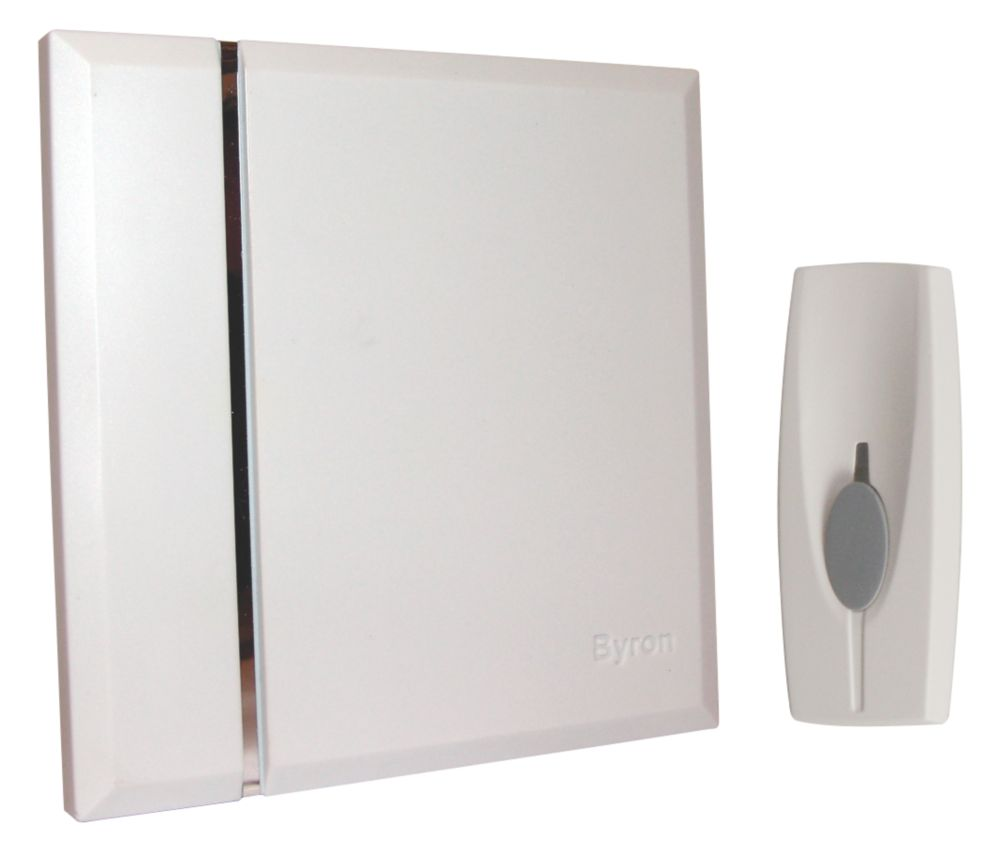 Byron BY401W 60m Wireless Doorbell Kit with Portable Chime White