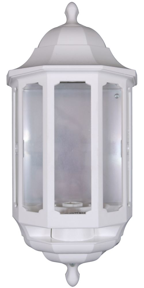 ASD White BC PIR Master Half Lantern Wall Light PIR Included 60W