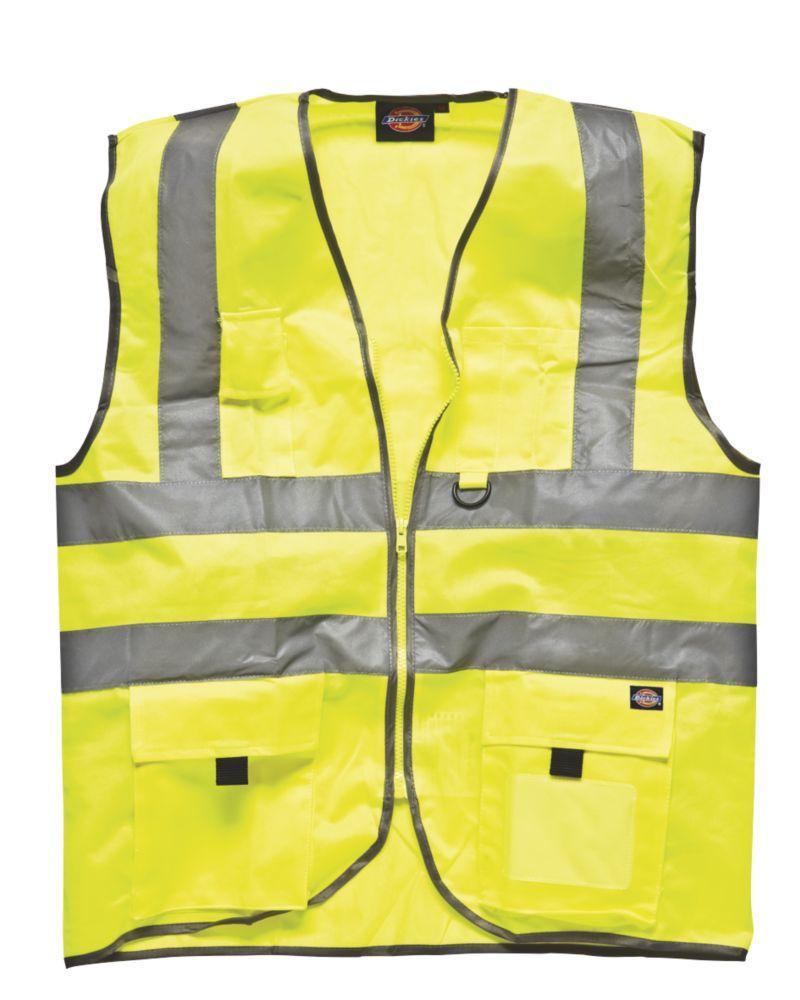 """Dickies  Hi-Vis Waistcoat Saturn Yellow Medium 42"""" Chest"""