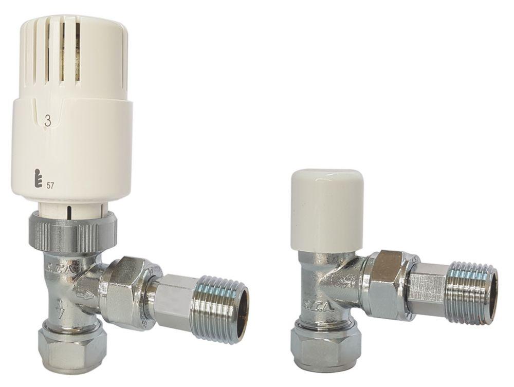 "Kudox  Brass Angled TRV & Lockshield 15mm x ½"""