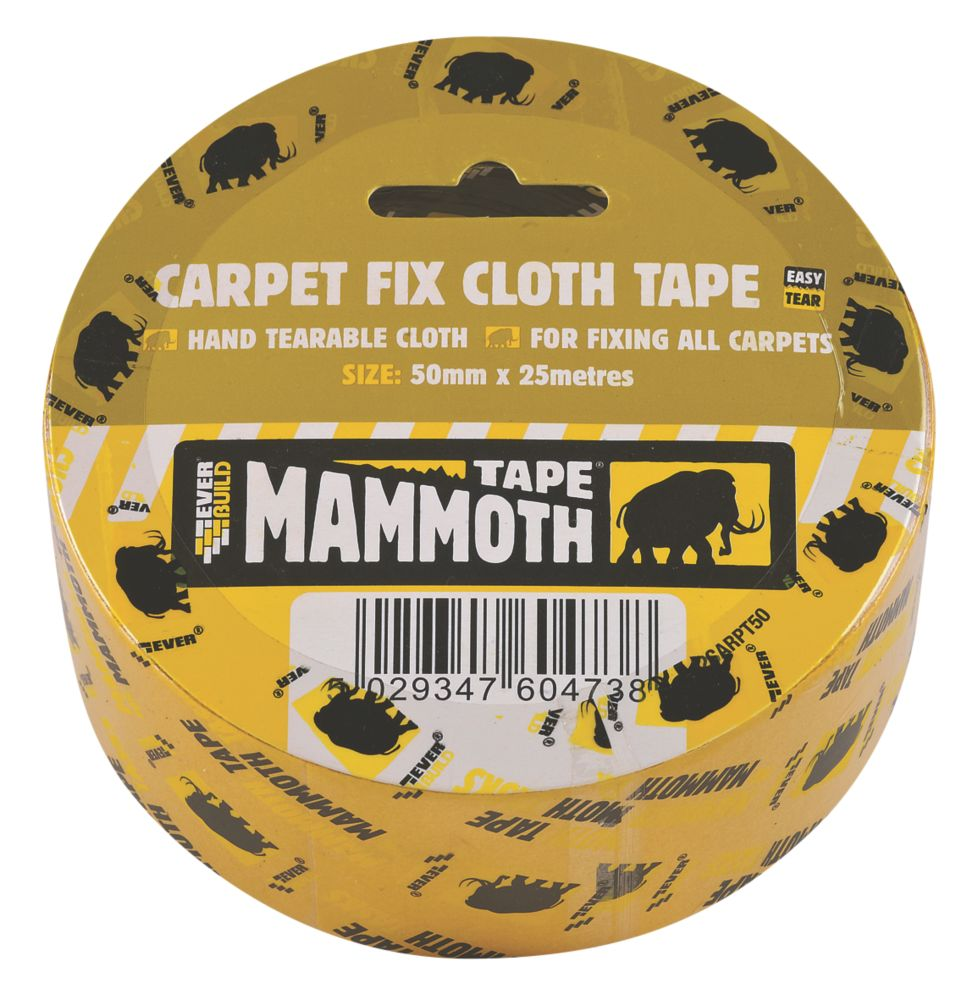 Everbuild Double-Sided Cloth Carpet Tape  Mesh Clear 25m x 50mm