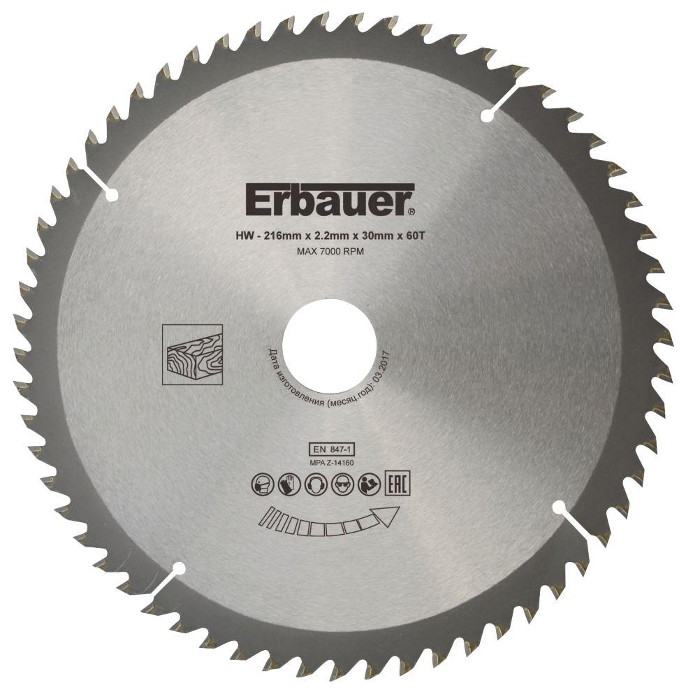 Erbauer TCT Saw Blade 216 x 30mm 60T