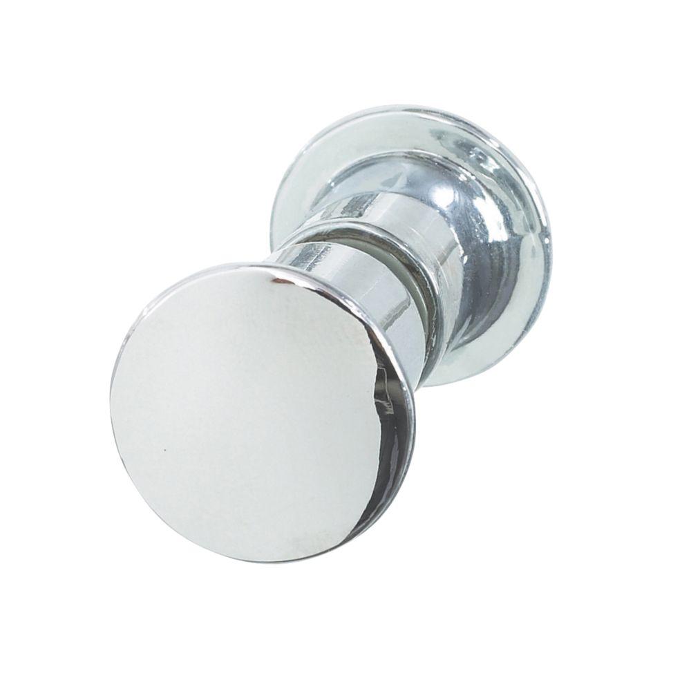 Aqualux Shine Round Shower Door Knob Chrome 25mm Single
