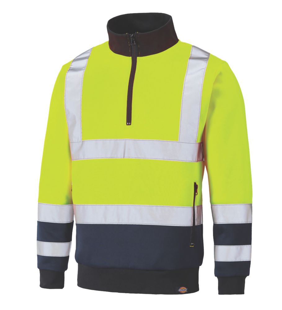 Dickies SA22092 Hi-Vis Quarter Zip Sweatshirt Yellow / Navy X Large  Chest