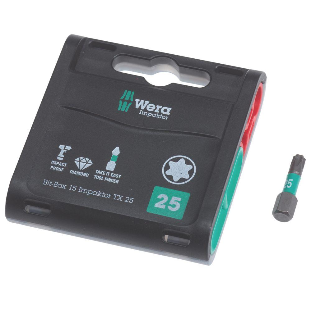 Wera Bit-Box Impaktor TriTorsion Diamond Coated Bits TX25 x 25mm 15 Pack