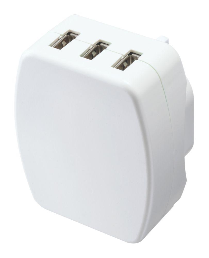 Masterplug 3-Outlet Plug-In USB Charging Plug Adaptor 3.4A