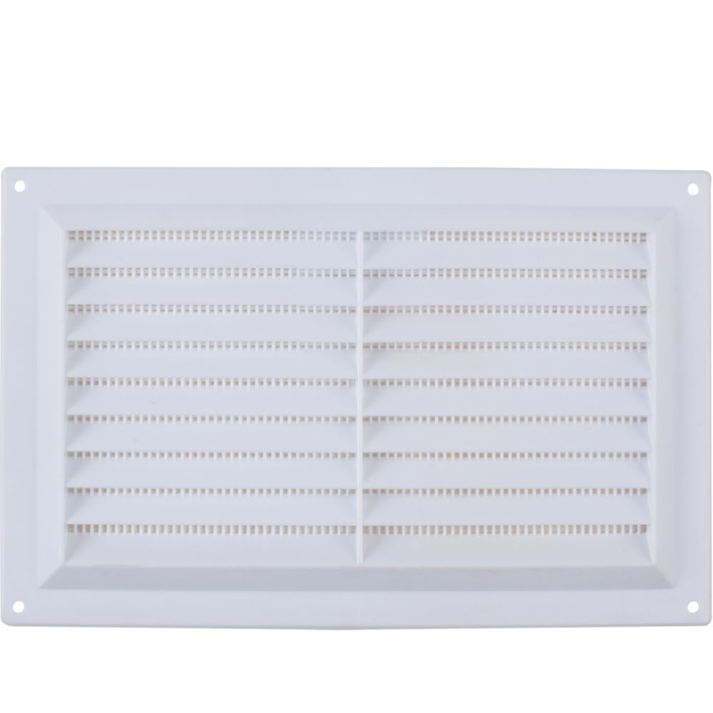 Map Vent Fixed Louvre Vent with Flyscreen White 229 x 152mm