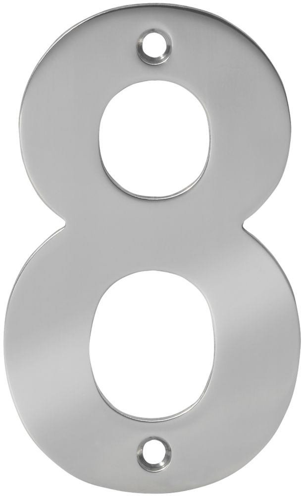 Eclipse Door Numeral 8 Polished Stainless Steel 100mm