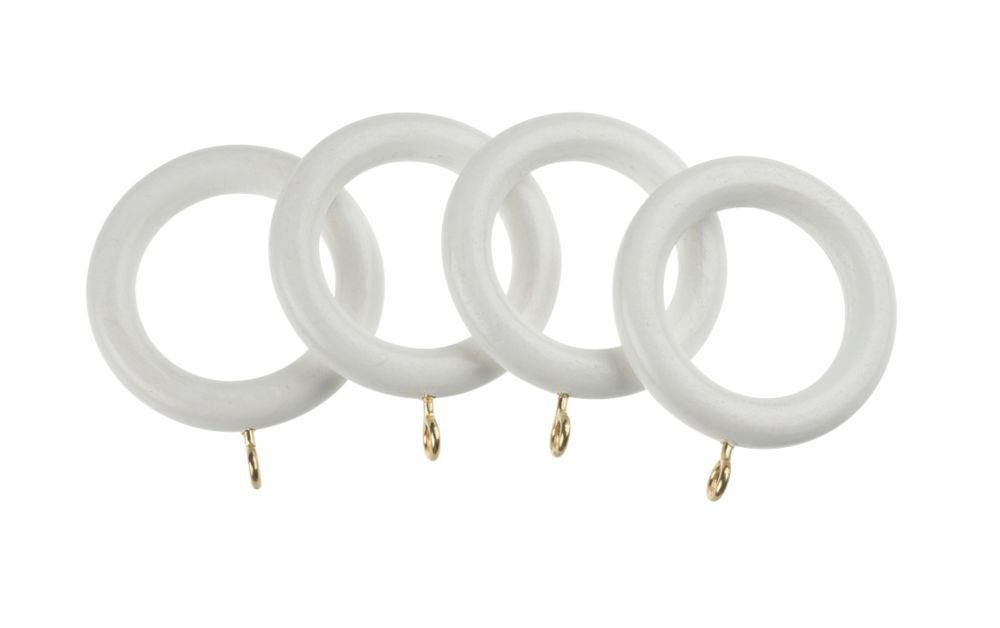 Universal Wooden 28mm Curtain Rings White 4 Pack