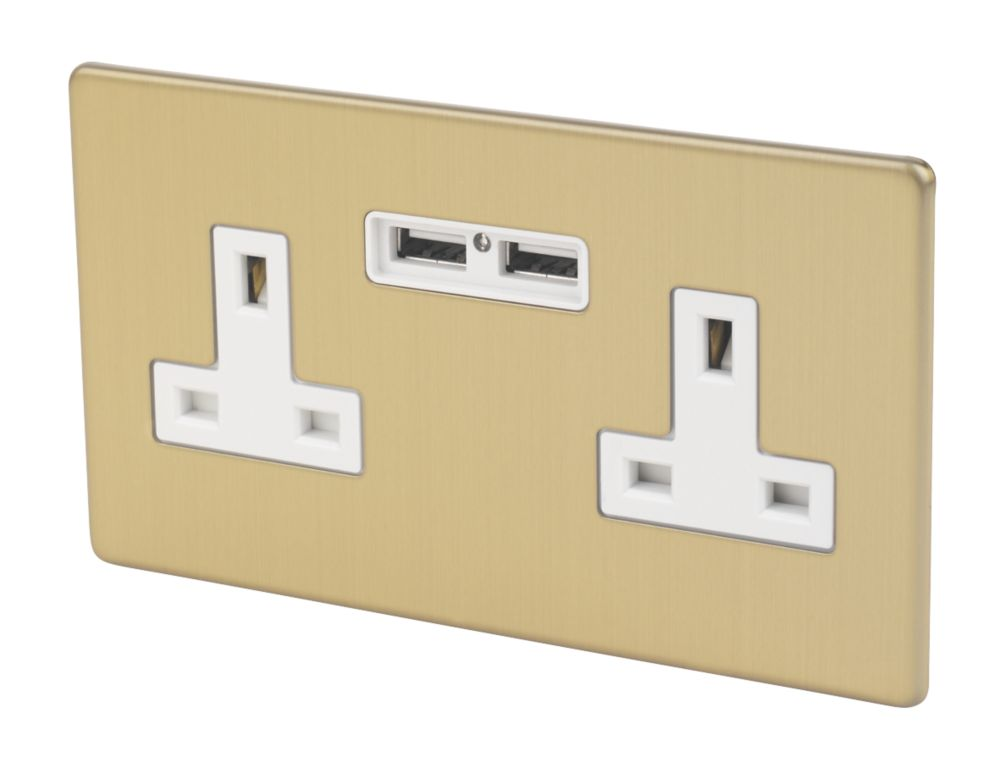 Varilight  13AX 2-Gang Unswitched Socket + 2.1A 2-Outlet USB Charger Brushed Brass with White Inserts