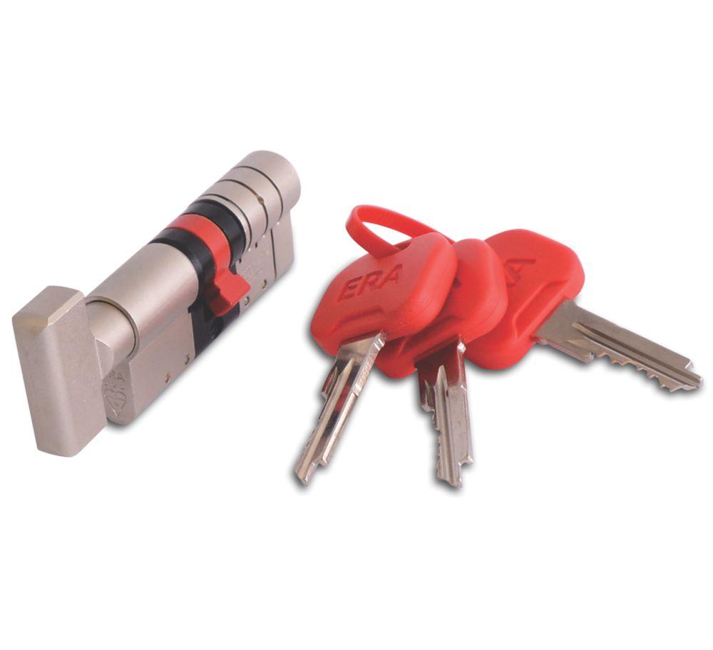 ERA   Euro Double Cylinder Thumbturn Door Lock 35-35 (70mm) Satin Nickel/Brass