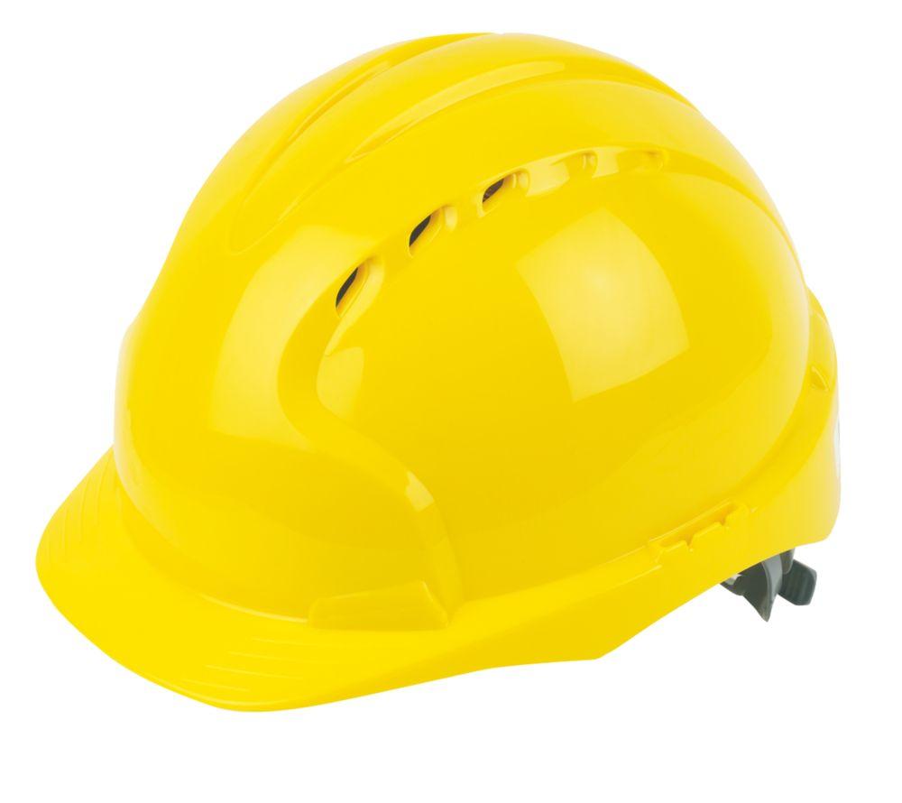 JSP EVO2 Mid Peak Slip-Ratchet Vented Safety Helmet Yellow