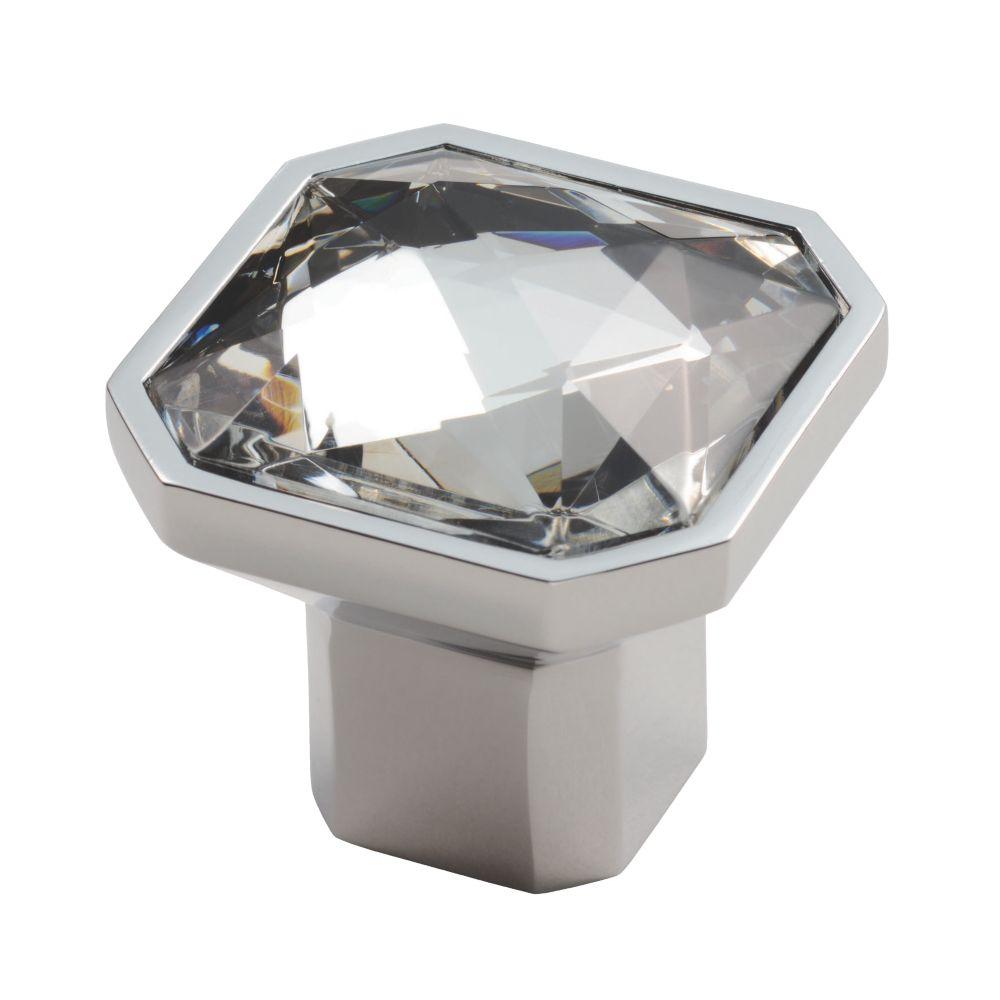 Carlisle Brass Crystal Square Furniture Knob Polished Chrome 38mm