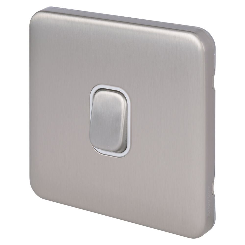 Schneider Electric Lisse Deco 10A 1-Gang 2-Way Retractive Switch Brushed Stainless Steel with White Inserts