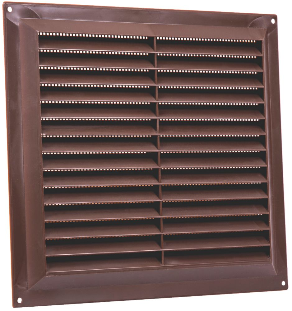 Map Vent Fixed Louvre Vent with Flyscreen Brown 229 x 229mm