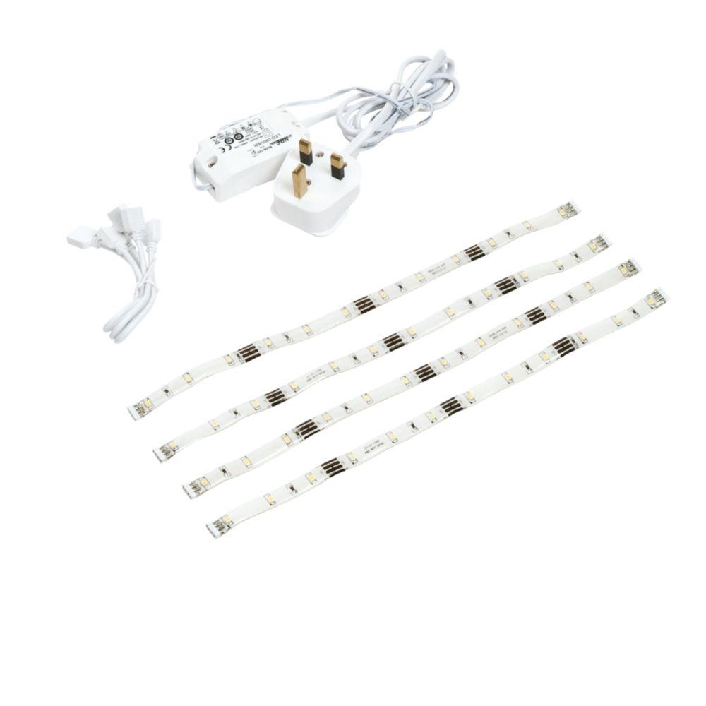 LAP Flextape 295mm LED Izo Flex Tape Cabinet Striplight Cool White 295mm 4 x 1W 4 Pack