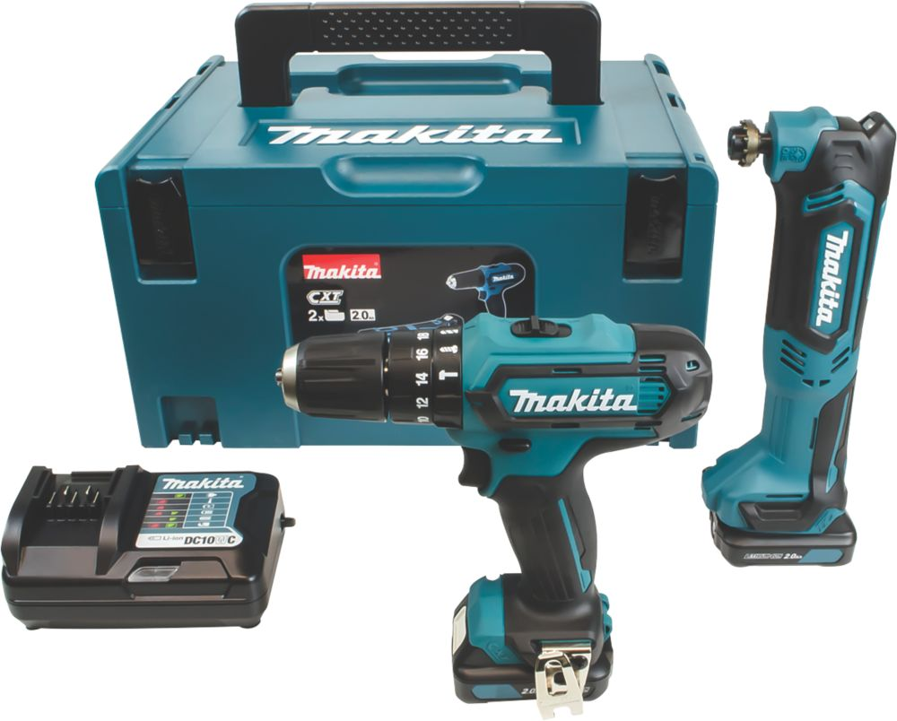Makita CLX203AJX1 10.8V 2.0Ah Li-Ion CXT  Cordless Combi Drill & Multi-Tool Twin Kit