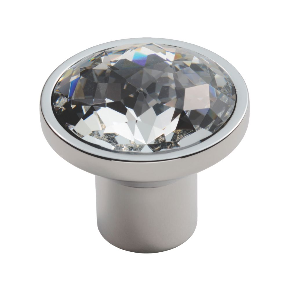 Carlisle Brass Crystal Round Furniture Knob Polished Chrome 34mm