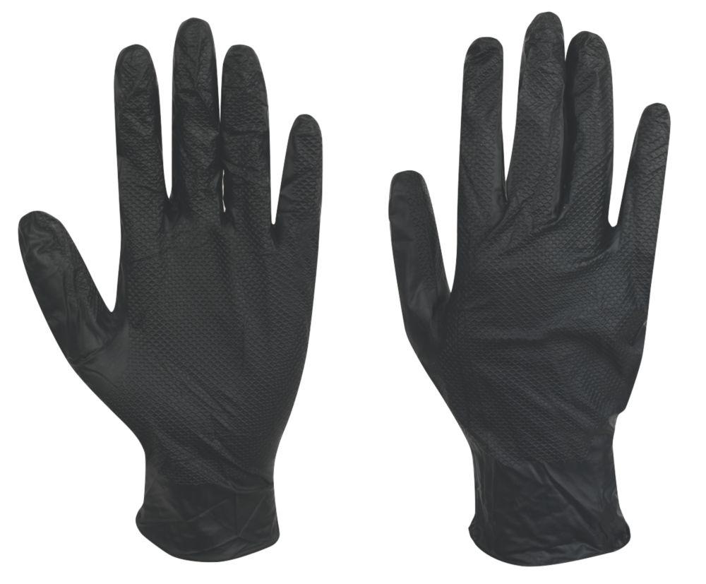 Juba Grippaz Nitrile Powder-Free Disposable Gloves Black Large 50 Pack