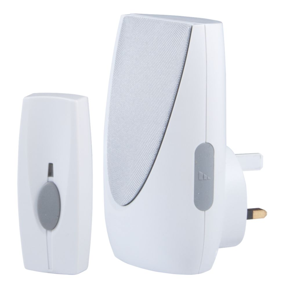 Byron   Wireless Doorbell Kit with Plug In Chime White