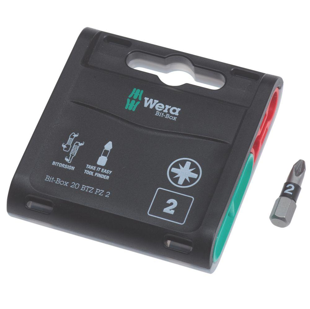 Wera Bit-Box BiTorsion Extra-Tough Bits PZ2 x 25mm 20 Pack