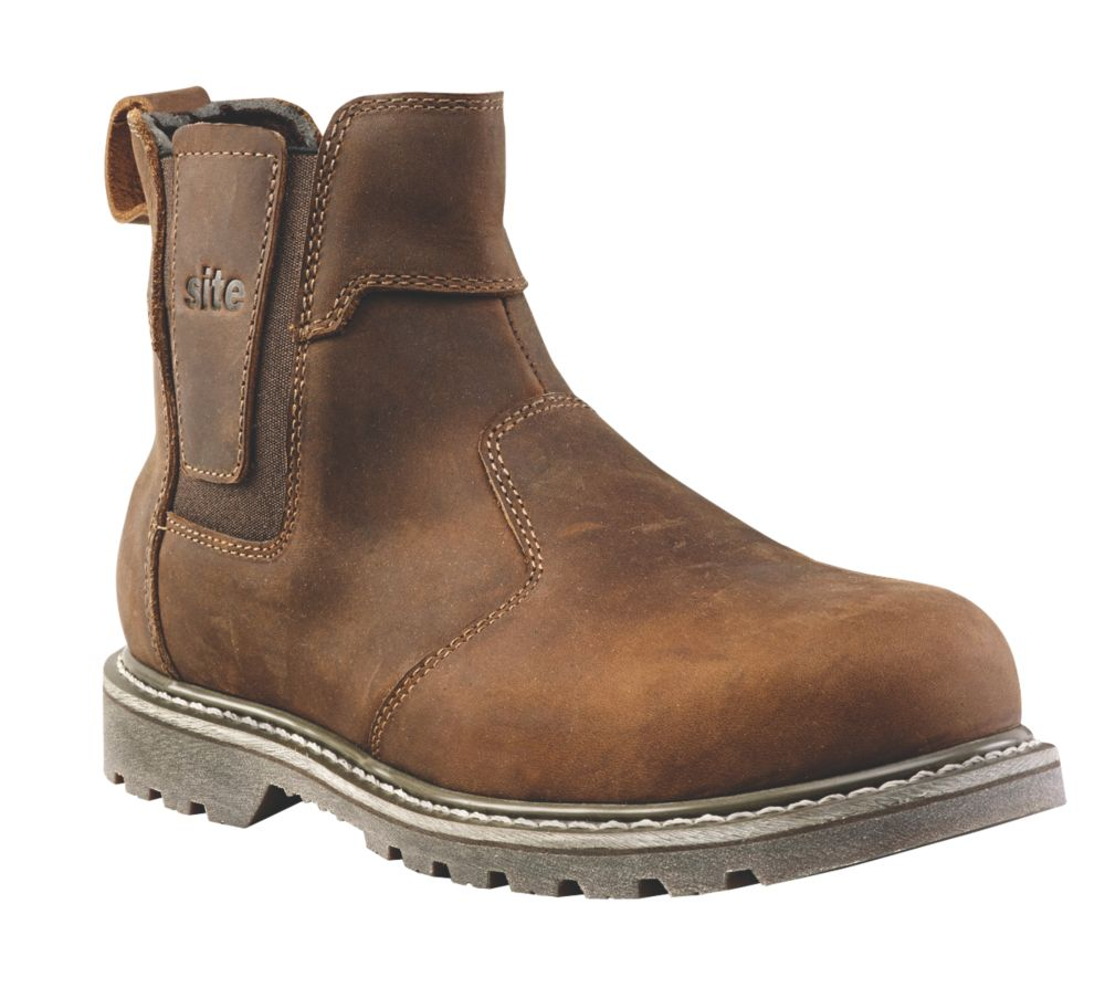 Site Mudguard   Safety Dealer Boots Brown Size 8
