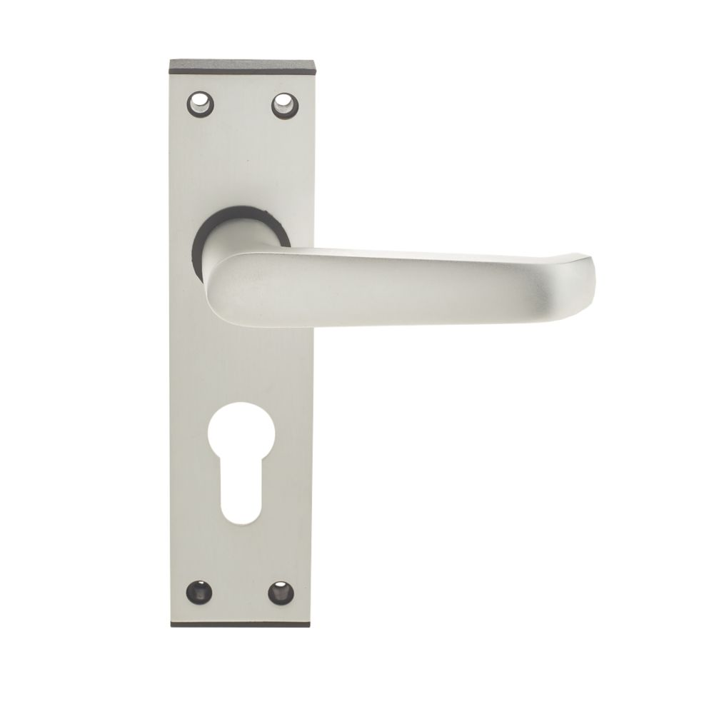 Union Ambassador Lever on Backplate Euro Lock Door Handle Pair Satin Aluminium
