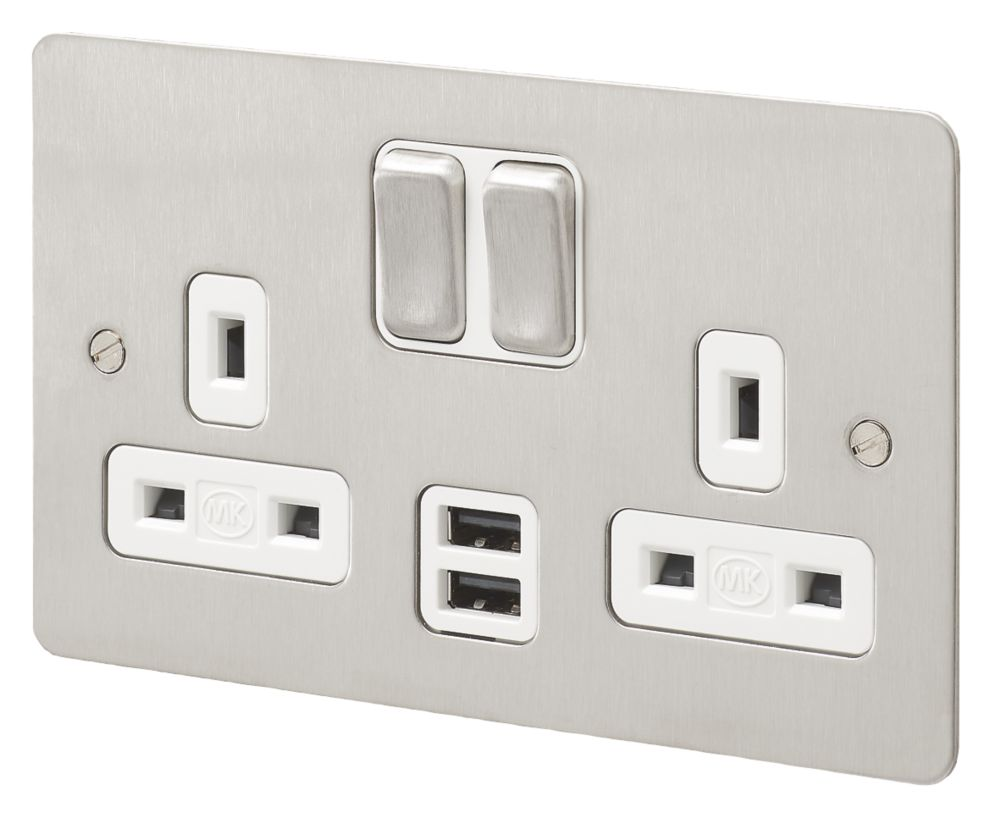 MK Edge 13A 2-Gang DP Switched Socket + 2A 2-Outlet USB Charger Brushed Stainless Steel with White Inserts