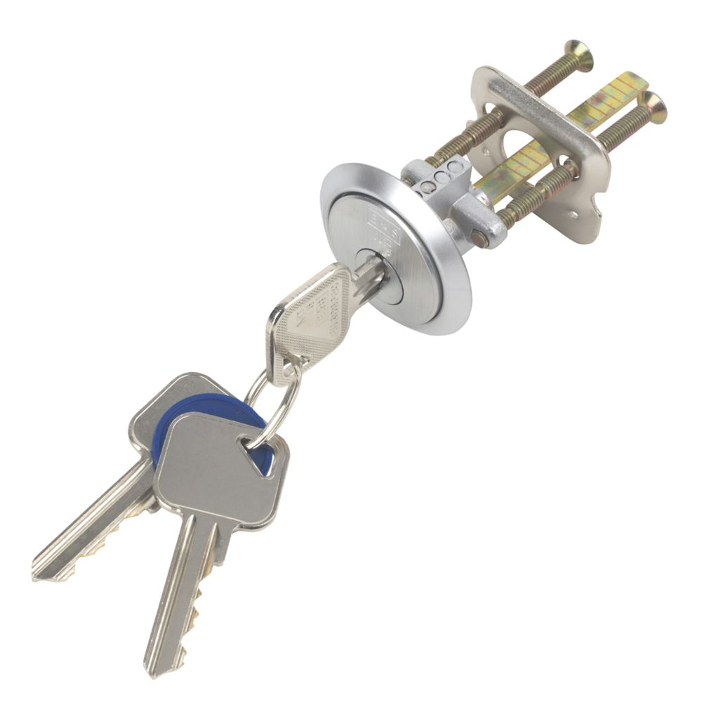 Smith & Locke Night Latch Replacement 5-Pin Rim Cylinder Satin Chrome 43mm