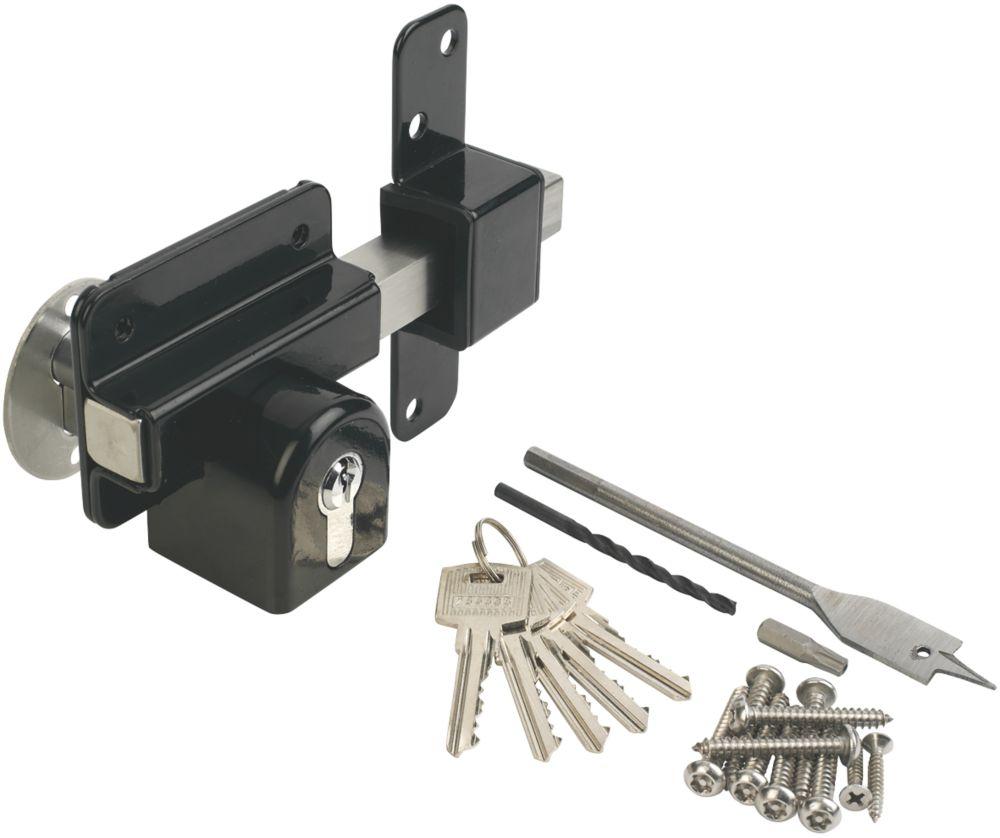 GateMate Black Double-Locking Euro Long Throw Lock 85mm