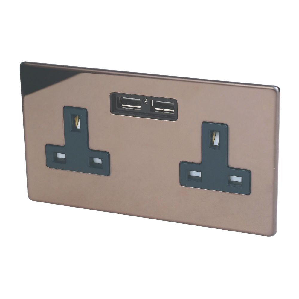 Varilight  13AX 2-Gang Unswitched Socket + 2.1A 2-Outlet USB Charger Polished Bronze with Black Inserts