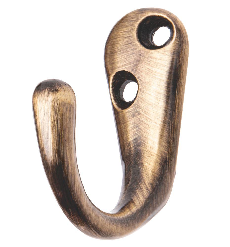 Smith & Locke Robe Hook Antique Brass 48mm 5 Pack