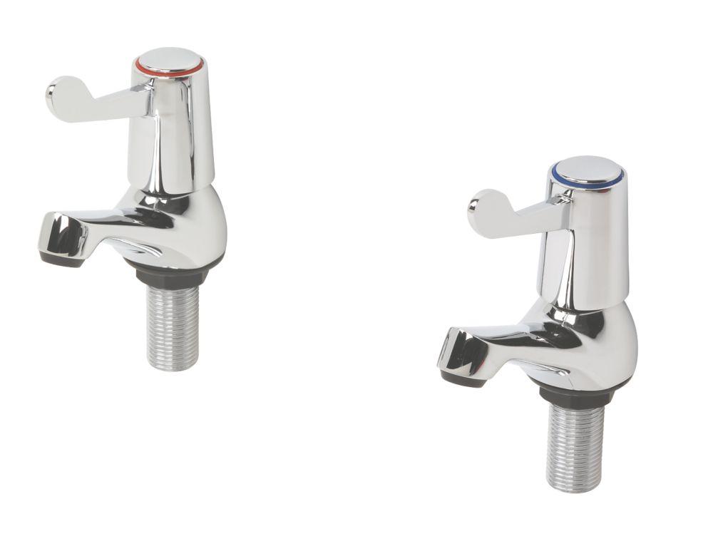 H & C  ¼ Turn Bathroom Basin Taps Pair Chrome